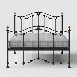 Clarina iron/metal bed in black with Juno mattress - Thumbnail