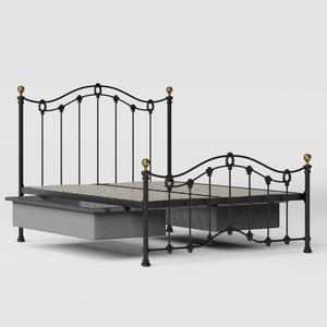 Clarina Low Footend iron/metal bed in black with drawers - Thumbnail