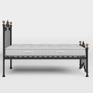 Clarina Low Footend iron/metal bed in black with Juno mattress - Thumbnail