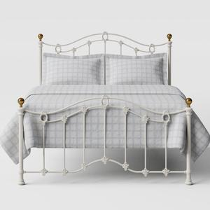 Clarina Low Footend iron/metal bed in ivory - Thumbnail