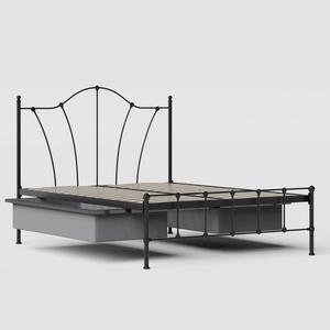 Claudia iron/metal bed in black with drawers - Thumbnail