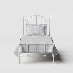 Claudia iron/metal single bed in ivory - Thumbnail