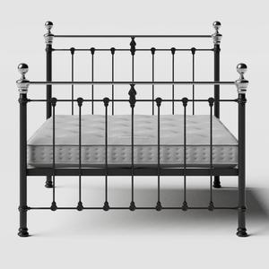 Hamilton Chromo iron/metal bed in black with Juno mattress - Thumbnail