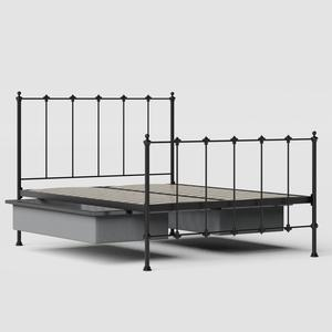 Paris iron/metal bed in black with drawers - Thumbnail