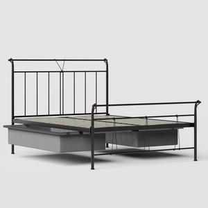 Pellini iron/metal bed in black with drawers - Thumbnail