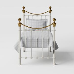 Selkirk iron/metal single bed in ivory - Thumbnail