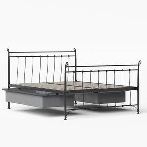 Tiffany iron/metal bed in black with drawers - Thumbnail