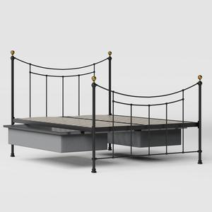 Virginia iron/metal bed in black with drawers - Thumbnail