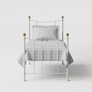 Virginia iron/metal single bed in ivory - Thumbnail