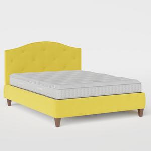 Daniella Buttoned Diagonal upholstered bed in sunflower fabric - Thumbnail