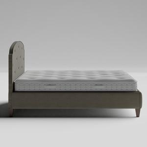 Lide Buttoned Diagonal upholstered bed in grey fabric with Juno mattress - Thumbnail