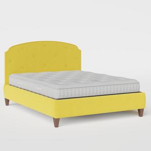 Lide Buttoned Diagonal upholstered bed in sunflower fabric - Thumbnail