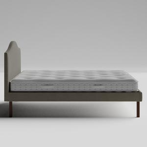 Yoshida Upholstered upholstered bed in grey fabric with Juno mattress - Thumbnail