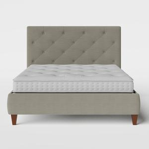 Yushan Deep Buttoned upholstered bed in grey fabric with Juno mattress - Thumbnail