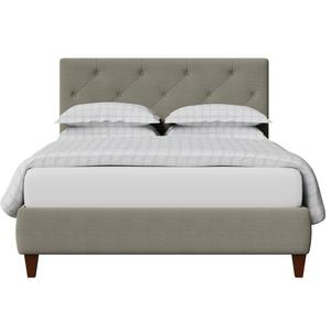 Yushan Deep Buttoned upholstered bed in grey fabric - Thumbnail