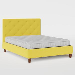 Yushan Deep Buttoned upholstered bed in sunflower fabric - Thumbnail