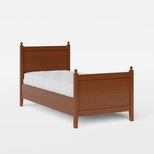 Marbella single wood bed in dark cherry with Juno mattress - Thumbnail