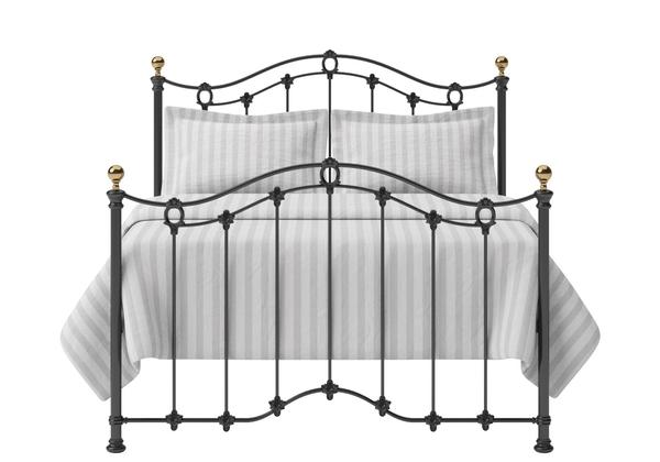 Clarina Iron/Metal Bed in Satin Black with brass details - Thumbnail